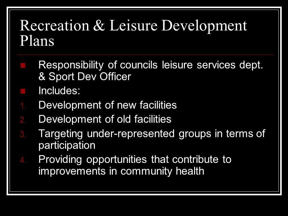 Recreation & Leisure Development Plans Responsibility of councils leisure services dept. & Sport Dev Officer Includes: 1. Development of new facilitie