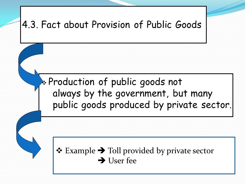 4.3. Fact about Provision of Public Goods  Production of public goods not always by the government, but many public goods produced by private sector.
