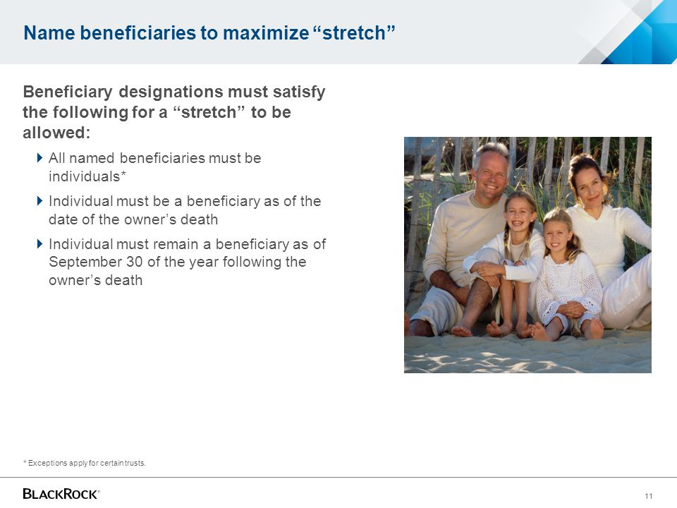 Name beneficiaries to maximize stretch Beneficiary designations must satisfy the following for a stretch to be allowed:  All named beneficiaries must be individuals*  Individual must be a beneficiary as of the date of the owner's death  Individual must remain a beneficiary as of September 30 of the year following the owner's death * Exceptions apply for certain trusts.