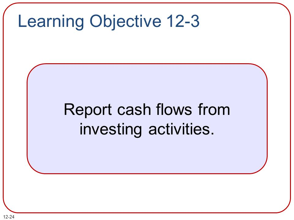 12-24 Learning Objective 12-3 Report cash flows from investing activities.