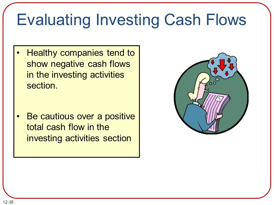 12-36 Healthy companies tend to show negative cash flows in the investing activities section.