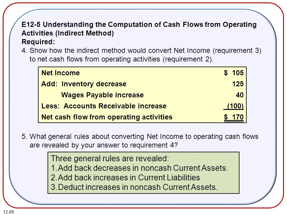 12-66 E12-5 Understanding the Computation of Cash Flows from Operating Activities (Indirect Method) Required: 4.