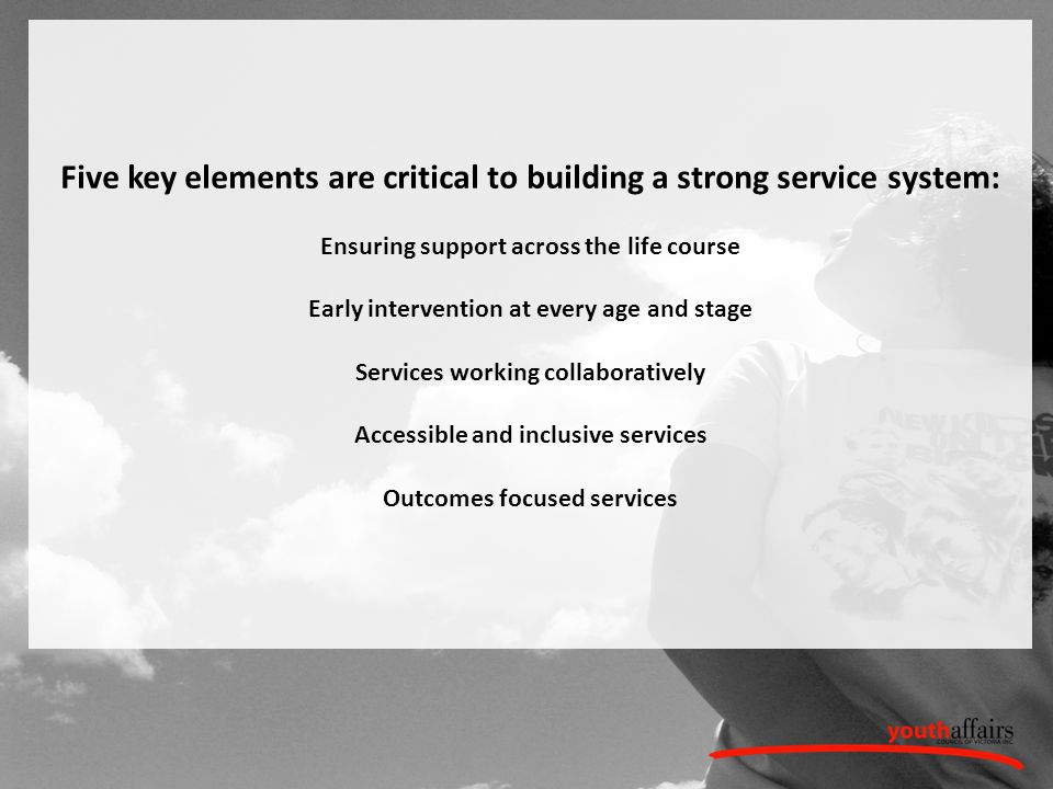 Five key elements are critical to building a strong service system: Ensuring support across the life course Early intervention at every age and stage