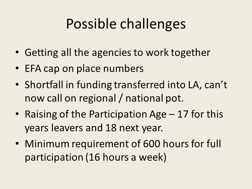Possible challenges Getting all the agencies to work together EFA cap on place numbers Shortfall in funding transferred into LA, can't now call on regional / national pot.