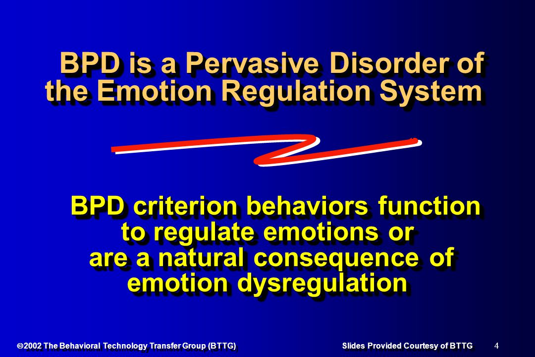 85  2002 The Behavioral Technology Transfer Group (BTTG) Slides Provided Courtesy of BTTG DBT: Pre < post l Depressed and hostile mood l Paranoia, l Psychotic behaviors, l Maladaptive interpersonal coping styles l Staff burn-out (trend) TAU: Pre = post TAU: Pre = post l Depressed and hostile mood l Paranoia, l Psychotic behaviors, l Maladaptive interpersonal coping styles l Staff burn-out (trend) TAU: Pre = post TAU: Pre = post McCann & Ball