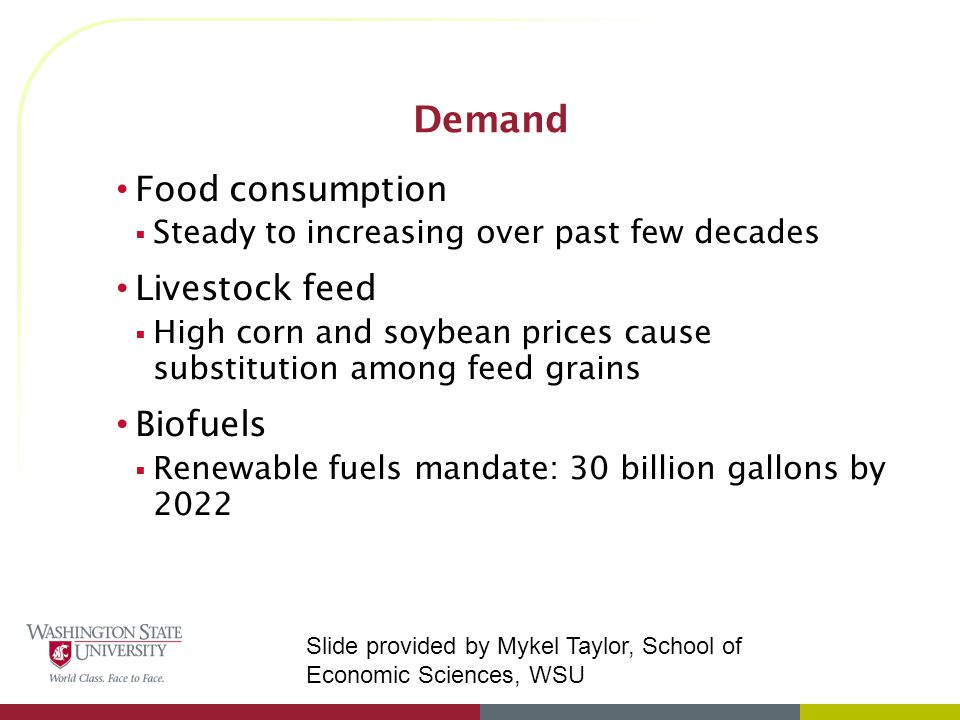Food consumption  Steady to increasing over past few decades Livestock feed  High corn and soybean prices cause substitution among feed grains Biofuels  Renewable fuels mandate: 30 billion gallons by 2022 Slide provided by Mykel Taylor, School of Economic Sciences, WSU