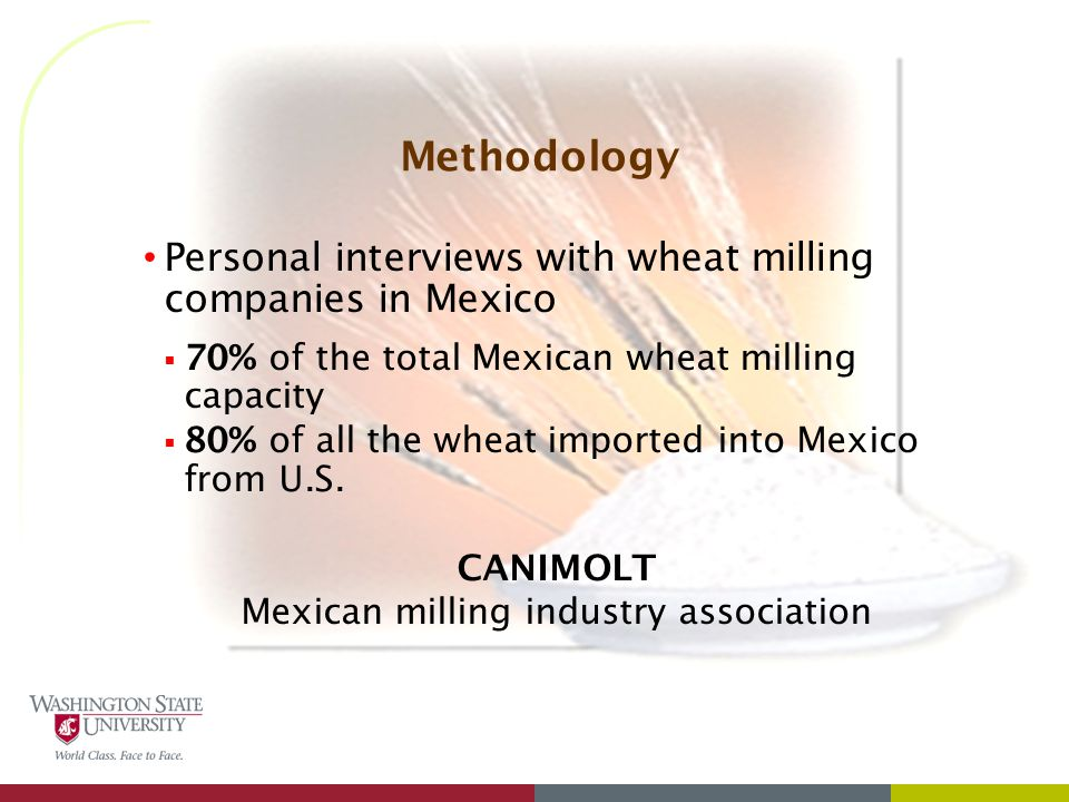 Methodology Personal interviews with wheat milling companies in Mexico  70% of the total Mexican wheat milling capacity  80% of all the wheat imported into Mexico from U.S.