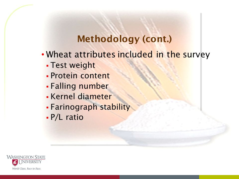 Methodology (cont.) Wheat attributes included in the survey  Test weight  Protein content  Falling number  Kernel diameter  Farinograph stability  P/L ratio