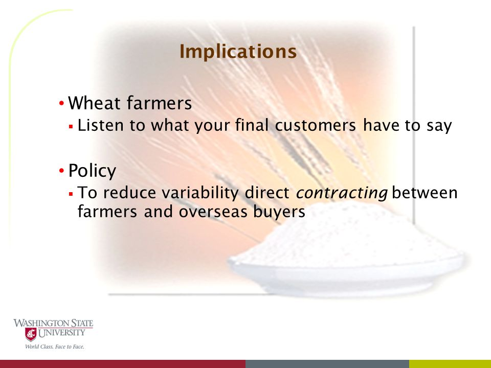Implications Wheat farmers  Listen to what your final customers have to say Policy  To reduce variability direct contracting between farmers and overseas buyers