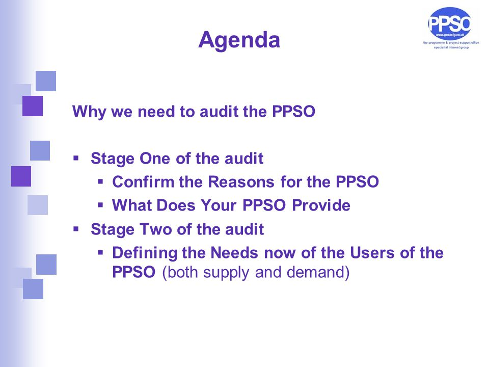 Agenda Why we need to audit the PPSO  Stage One of the audit  Confirm the Reasons for the PPSO  What Does Your PPSO Provide  Stage Two of the audit  Defining the Needs now of the Users of the PPSO (both supply and demand)