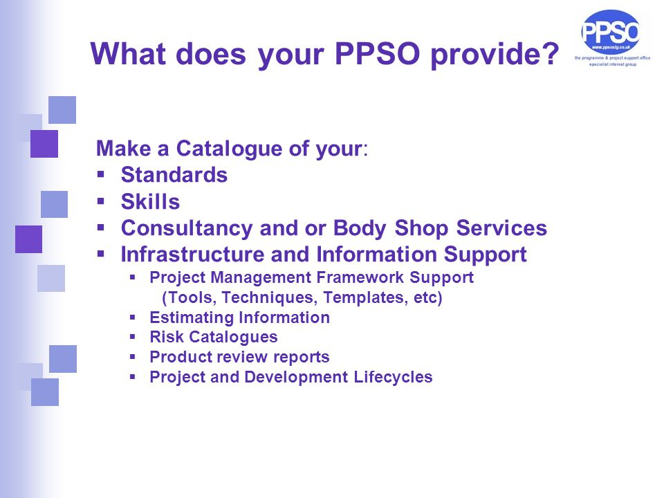What does your PPSO provide.