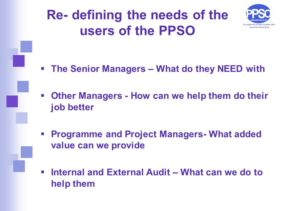 Re- defining the needs of the users of the PPSO  The Senior Managers – What do they NEED with  Other Managers - How can we help them do their job better  Programme and Project Managers- What added value can we provide  Internal and External Audit – What can we do to help them