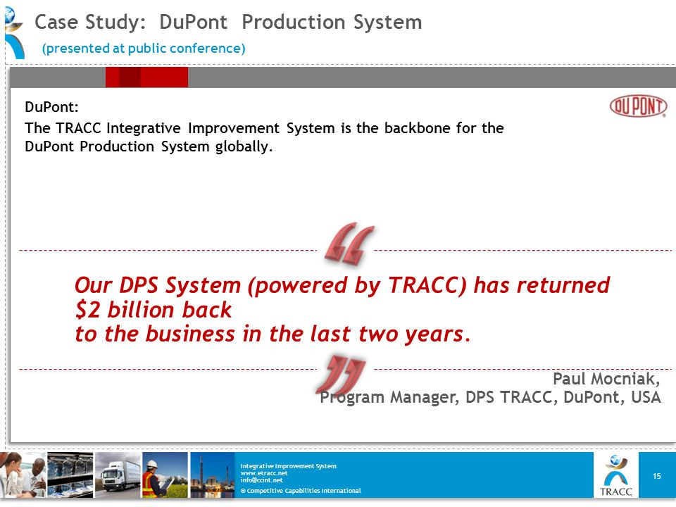 © Competitive Capabilities International Integrative Improvement System www.etracc.net info@ccint.net Case Study: DuPont Production System (presented