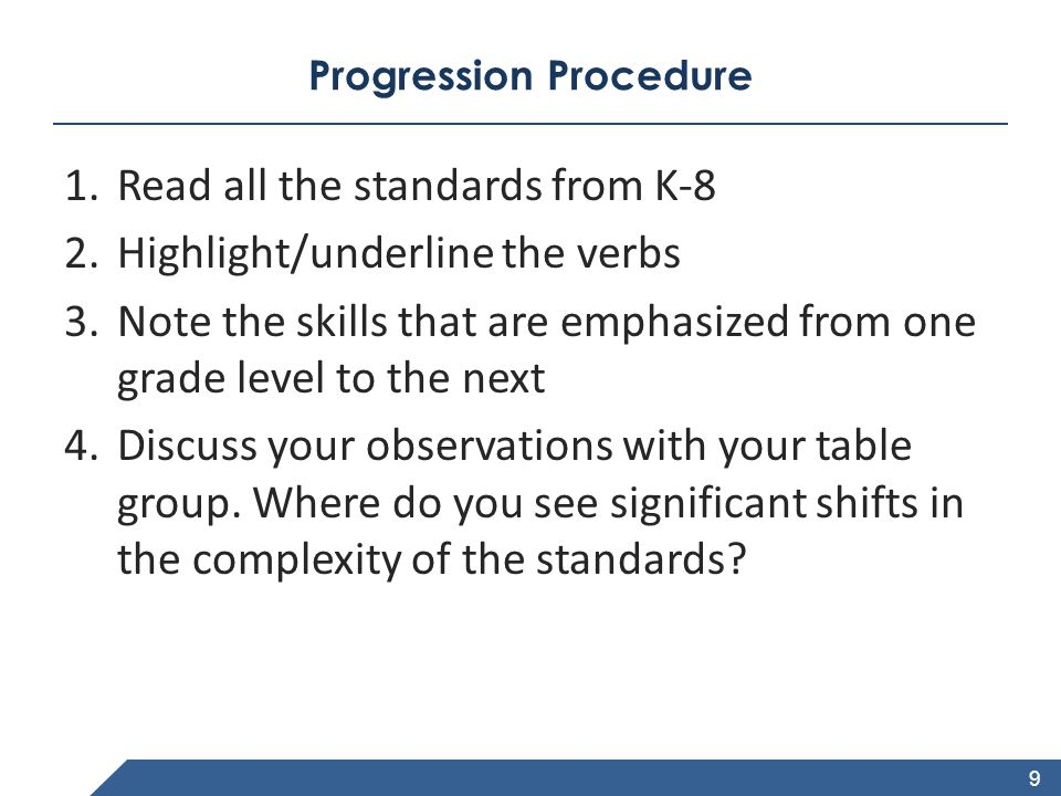 www.achievethecore.org Progression Procedure 1.Read all the standards from K-8 2.Highlight/underline the verbs 3.Note the skills that are emphasized f