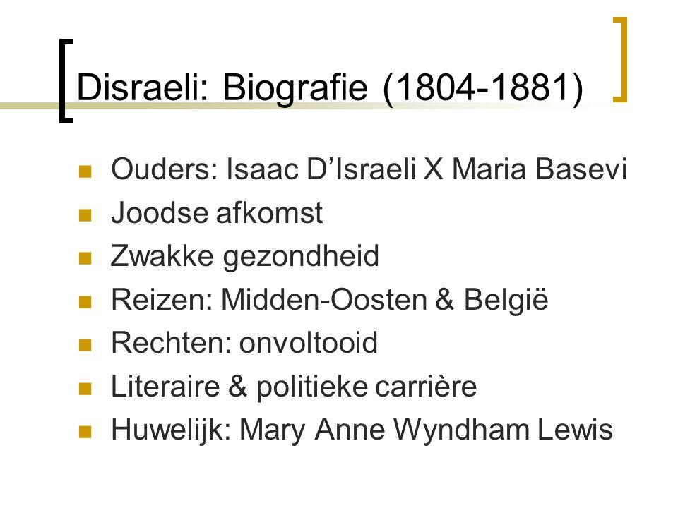 Disraeli: Biografie (1804-1881) Ouders: Isaac D'Israeli X Maria Basevi Joodse afkomst Zwakke gezondheid Reizen: Midden-Oosten & België Rechten: onvolt