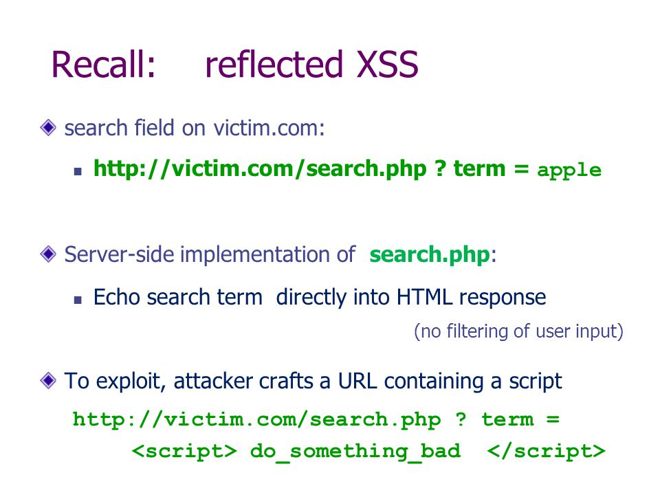 Recall: reflected XSS search field on victim.com:   .