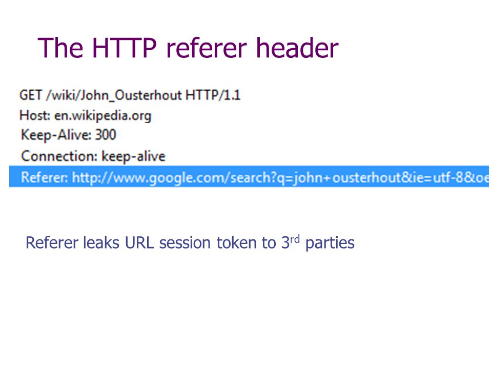 The HTTP referer header Referer leaks URL session token to 3 rd parties