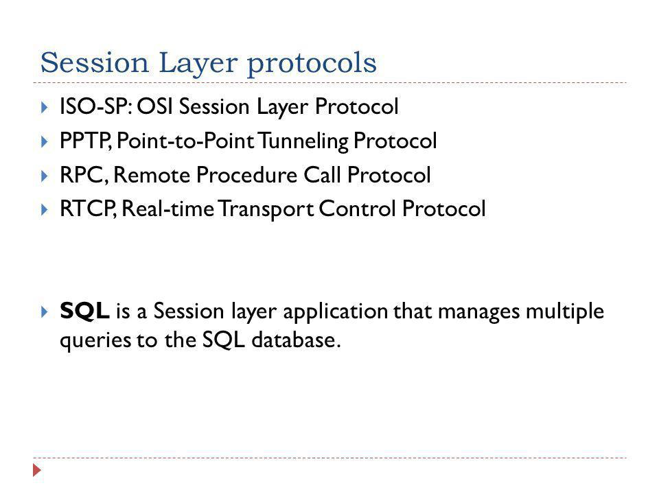 Session Layer protocols  ISO-SP: OSI Session Layer Protocol  PPTP, Point-to-Point Tunneling Protocol  RPC, Remote Procedure Call Protocol  RTCP, R