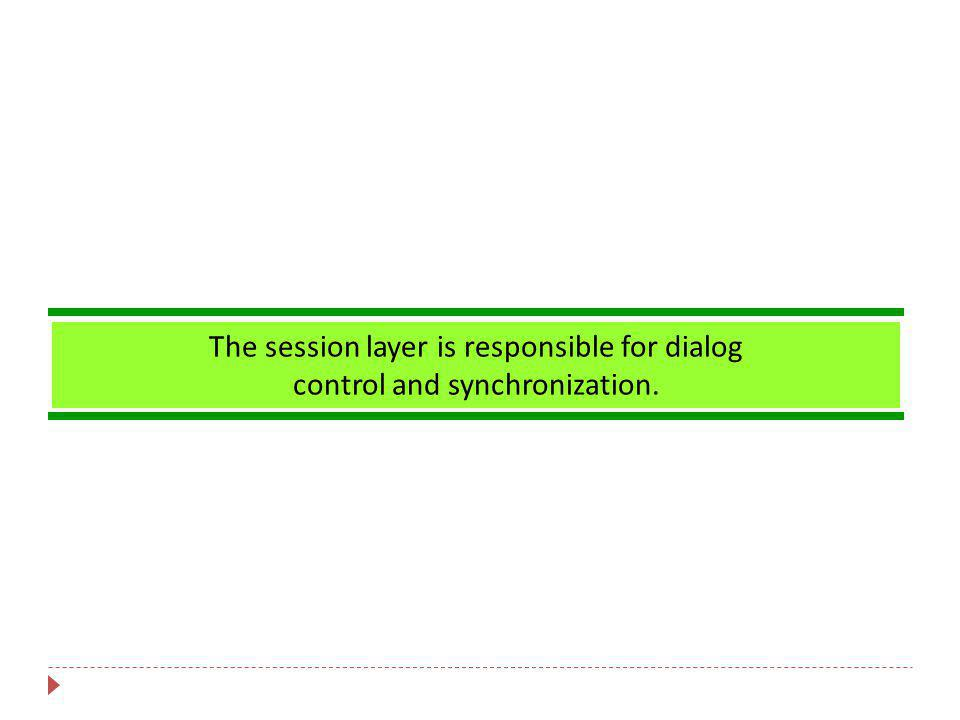 The session layer is responsible for dialog control and synchronization.