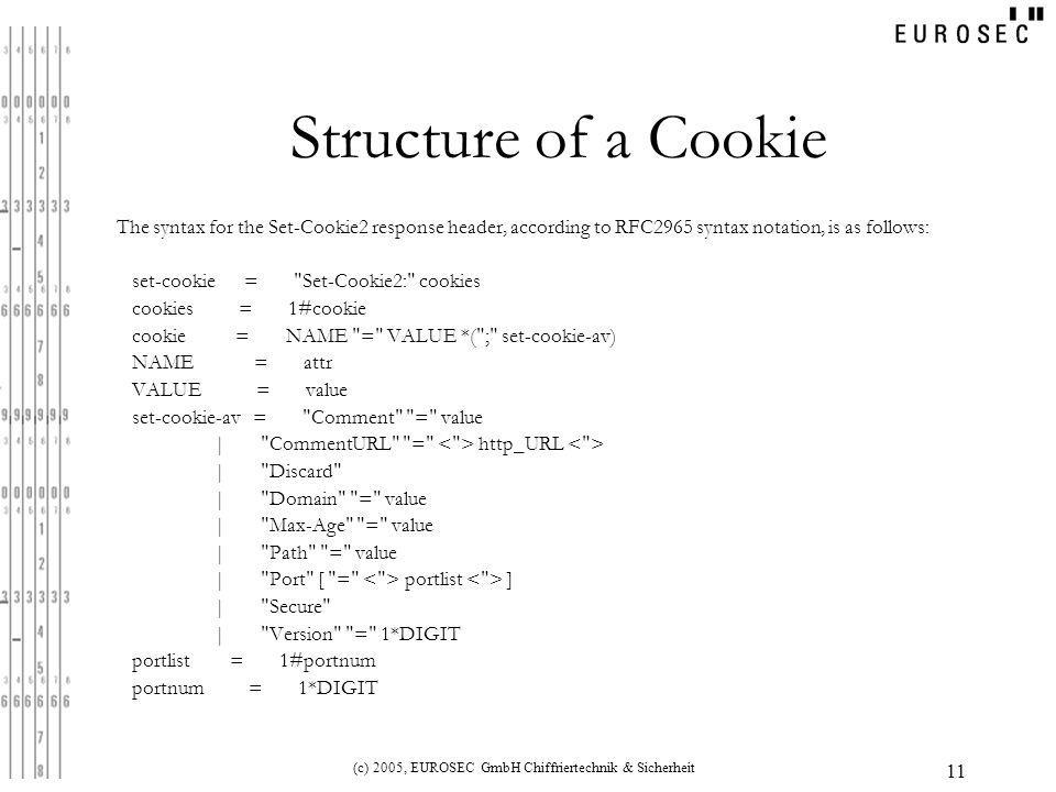 (c) 2005, EUROSEC GmbH Chiffriertechnik & Sicherheit 11 Structure of a Cookie The syntax for the Set-Cookie2 response header, according to RFC2965 syntax notation, is as follows: set-cookie = Set-Cookie2: cookies cookies = 1#cookie cookie = NAME = VALUE *( ; set-cookie-av) NAME = attr VALUE = value set-cookie-av = Comment = value | CommentURL = http_URL | Discard | Domain = value | Max-Age = value | Path = value | Port [ = portlist ] | Secure | Version = 1*DIGIT portlist = 1#portnum portnum = 1*DIGIT