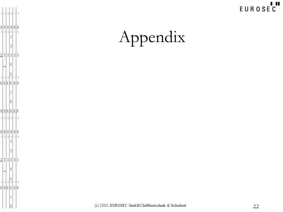 (c) 2005, EUROSEC GmbH Chiffriertechnik & Sicherheit 22 Appendix