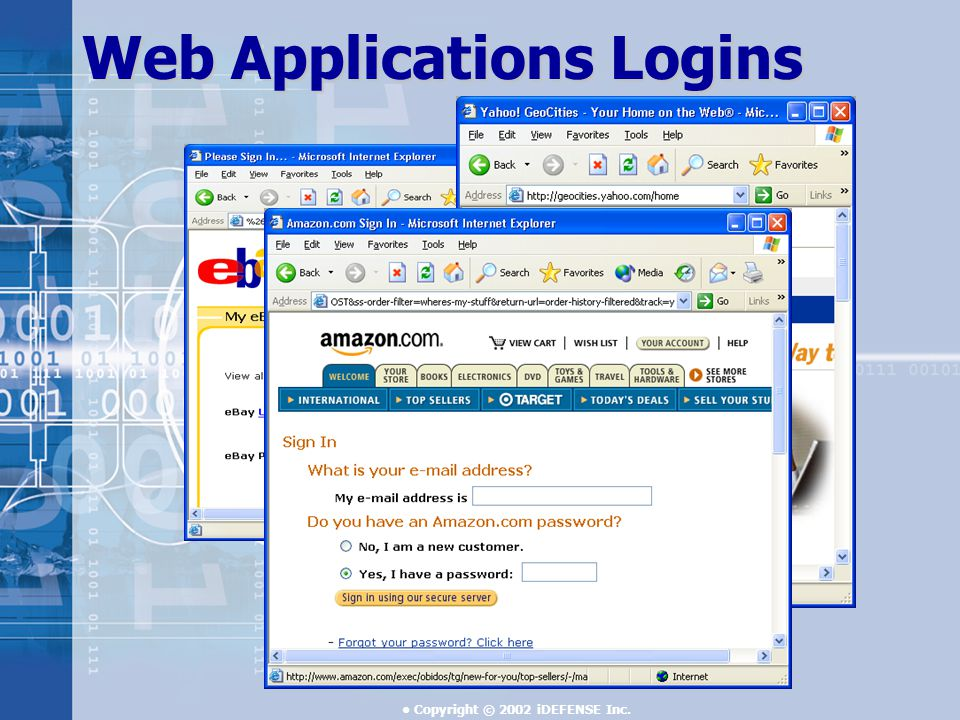 Copyright © 2002 iDEFENSE Inc. Web Applications Logins