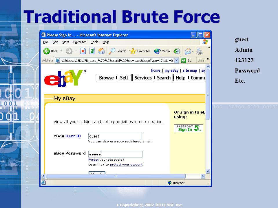 Copyright © 2002 iDEFENSE Inc. Traditional Brute Force guest Admin Password Etc.