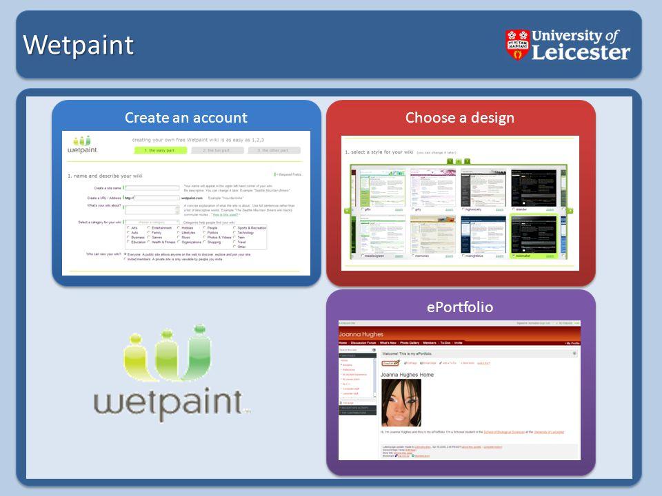 Wetpaint Create an account Choose a design ePortfolio