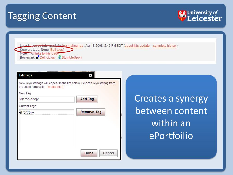 Tagging Content Creates a synergy between content within an ePortfoilio