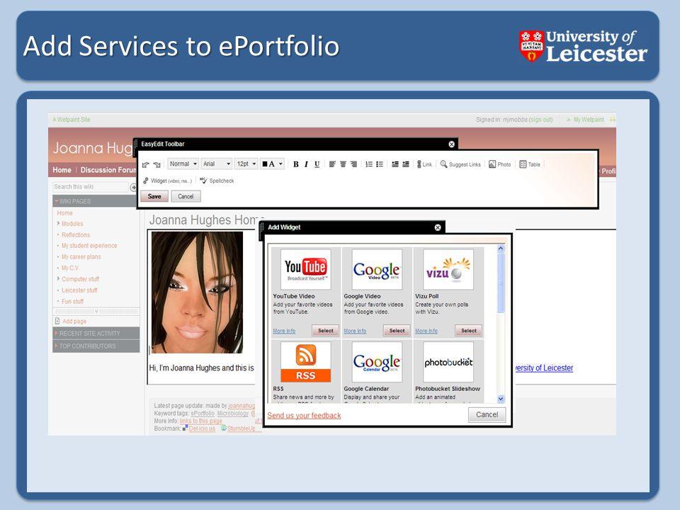 Add Services to ePortfolio