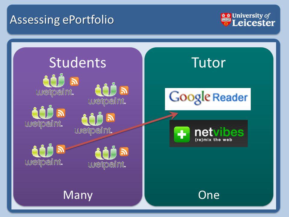 Assessing ePortfolio Students Tutor ManyOne