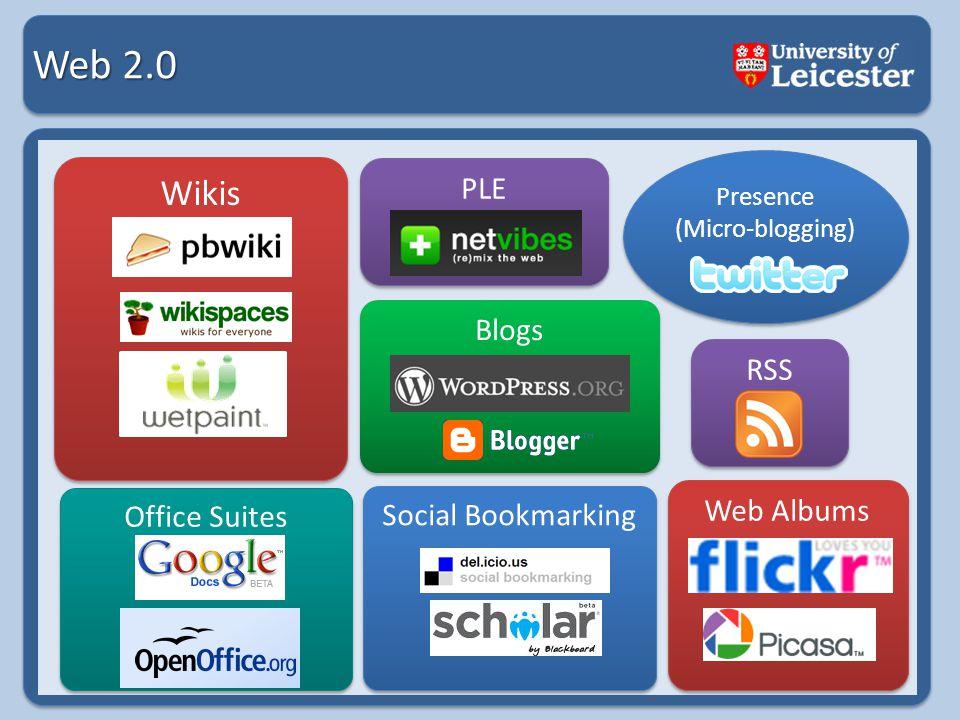 Web 2.0 Social Bookmarking Web Albums Presence (Micro-blogging) Presence (Micro-blogging) Blogs Wikis RSS PLE Office Suites