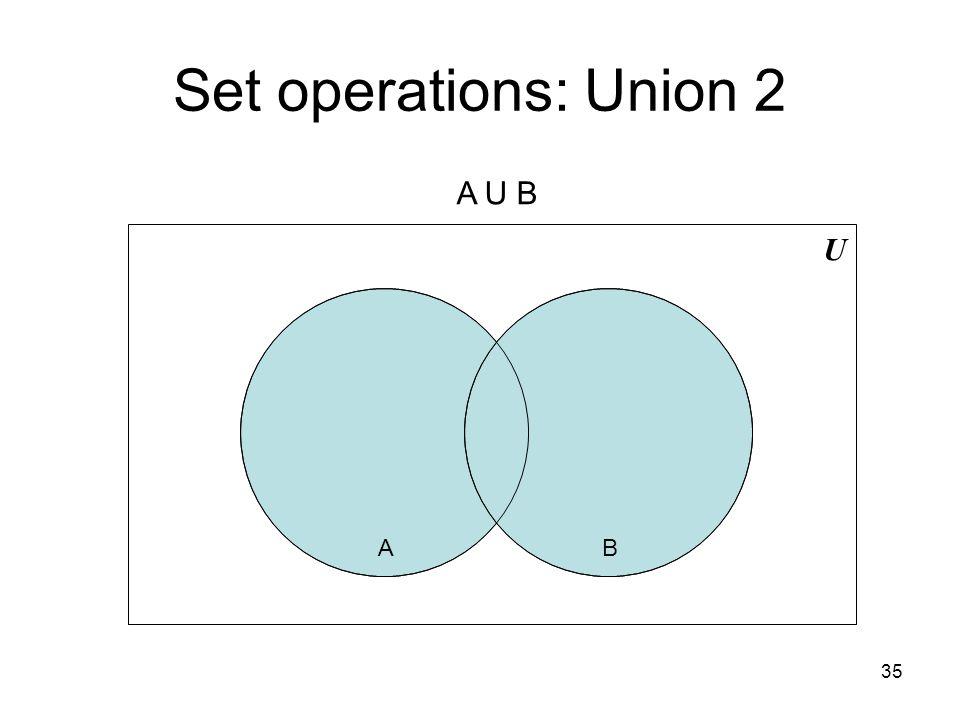 35 Set operations: Union 2 U AB A U B