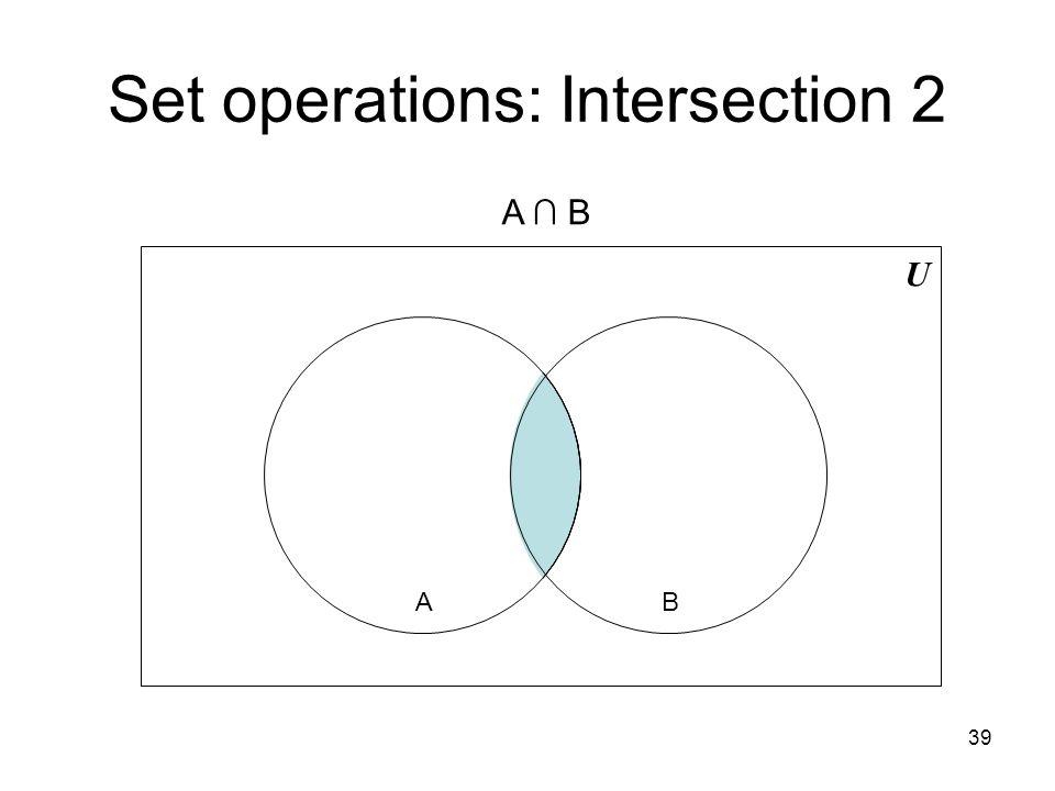 39 Set operations: Intersection 2 U BA A ∩ B