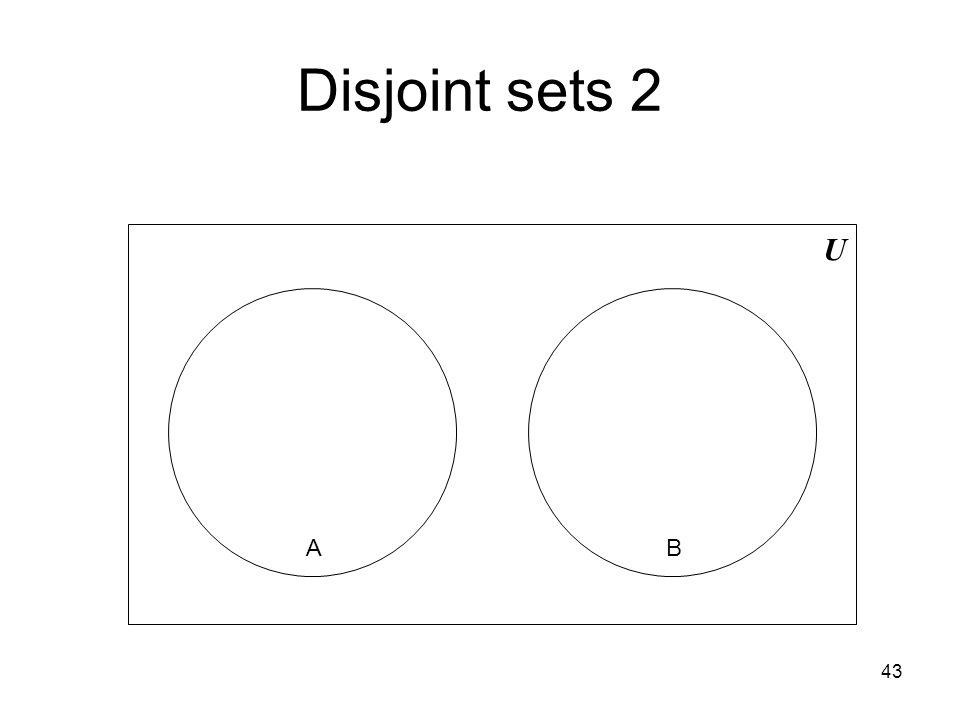 43 Disjoint sets 2 U AB