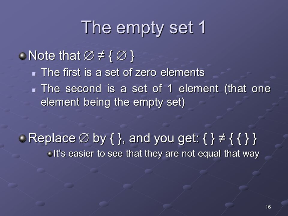16 The empty set 1 Note that  ≠ {  } The first is a set of zero elements The first is a set of zero elements The second is a set of 1 element (that one element being the empty set) The second is a set of 1 element (that one element being the empty set) Replace  by { }, and you get: { } ≠ { { } } It's easier to see that they are not equal that way