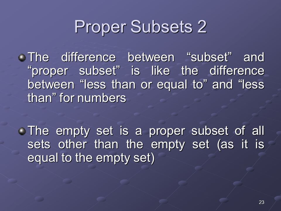 23 Proper Subsets 2 The difference between subset and proper subset is like the difference between less than or equal to and less than for numbers The empty set is a proper subset of all sets other than the empty set (as it is equal to the empty set)