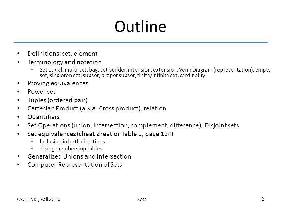 SetsCSCE 235, Fall 2010 2 Outline Definitions: set, element Terminology and notation Set equal, multi-set, bag, set builder, intension, extension, Ven