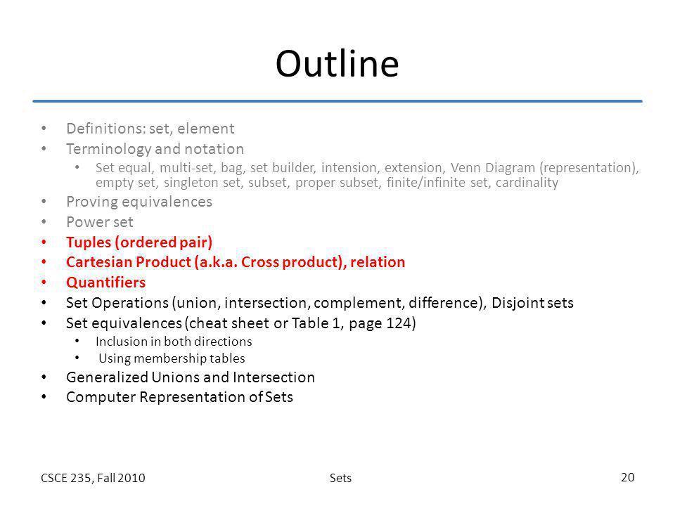 SetsCSCE 235, Fall 2010 20 Outline Definitions: set, element Terminology and notation Set equal, multi-set, bag, set builder, intension, extension, Ve