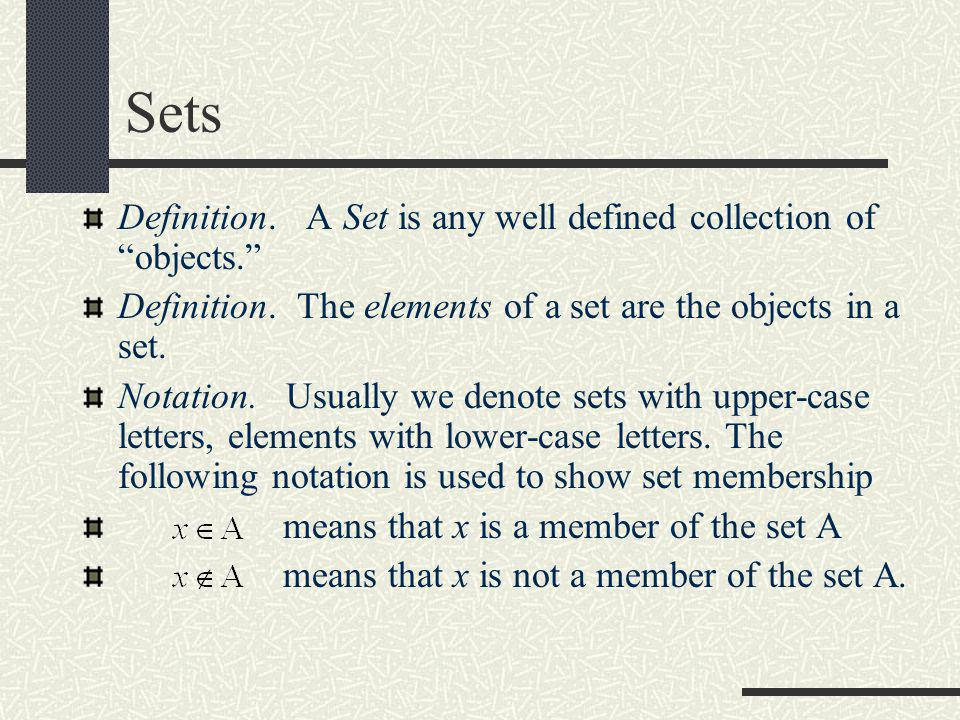 """Sets Definition. A Set is any well defined collection of """"objects."""" Definition. The elements of a set are the objects in a set. Notation. Usually we d"""