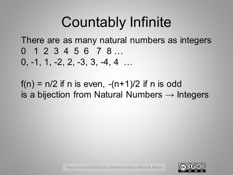 Countably Infinite 2/13/122 There are as many natural numbers as integers 0 1 2 3 4 5 6 7 8 … 0, -1, 1, -2, 2, -3, 3, -4, 4 … f(n) = n/2 if n is even, -(n+1)/2 if n is odd is a bijection from Natural Numbers → Integers