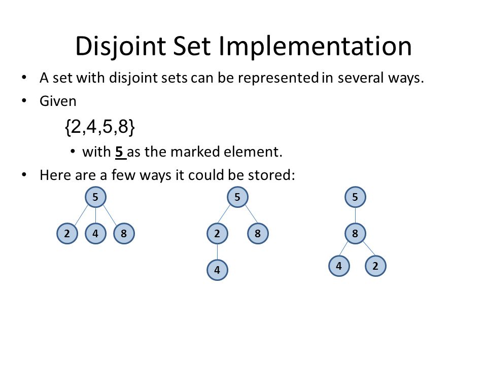 Disjoint Set Implementation A set with disjoint sets can be represented in several ways.
