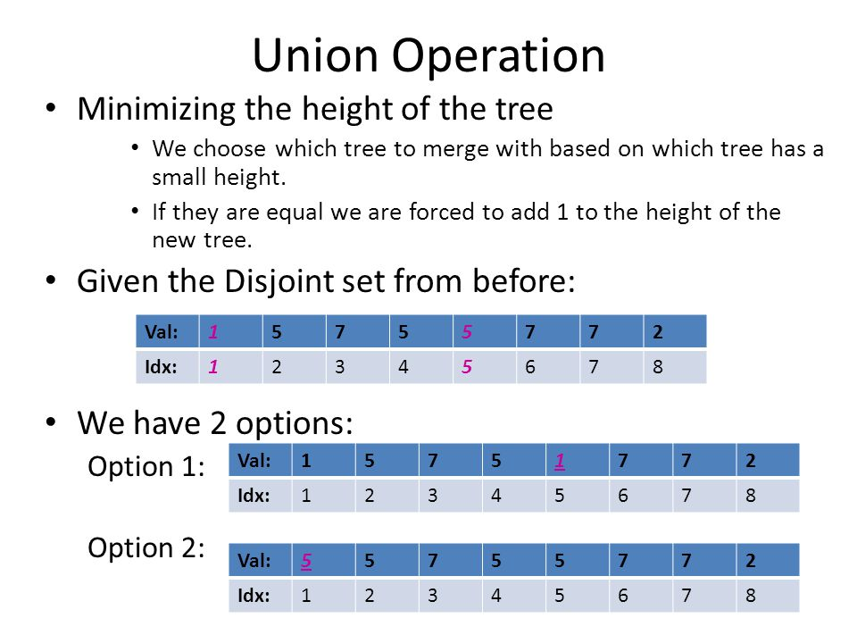 Union Operation Minimizing the height of the tree We choose which tree to merge with based on which tree has a small height.