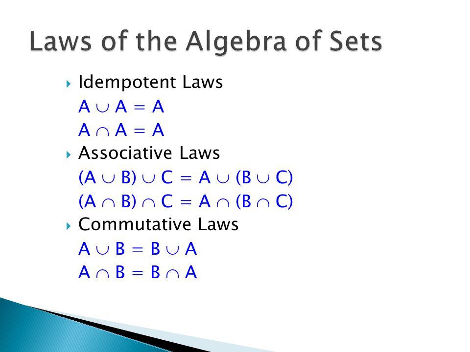  Idempotent Laws A  A = A A  A = A  Associative Laws (A  B)  C = A  (B  C) (A  B)  C = A  (B  C)  Commutative Laws A  B = B  A A  B = B  A