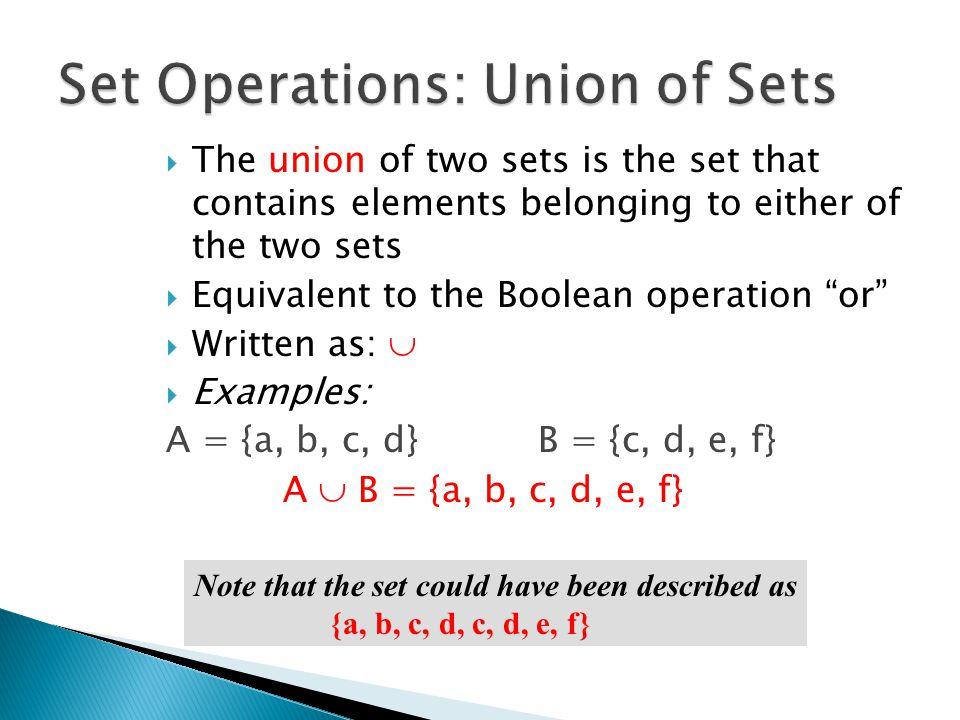 A = {a, b, c, d} B = {c, d, e, f} A  B = {a, b, c, d, e, f} A = {a, b, c, d} B = {x, y, z} A  B = {a, b, c, d, x, y, z} Sets overlap Sets are disjoint