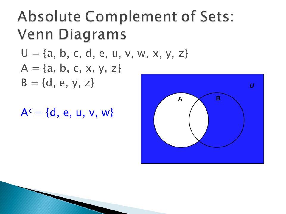 U = {a, b, c, d, e, u, v, w, x, y, z} A = {a, b, c, x, y, z} B = {d, e, y, z} A c = {d, e, u, v, w}
