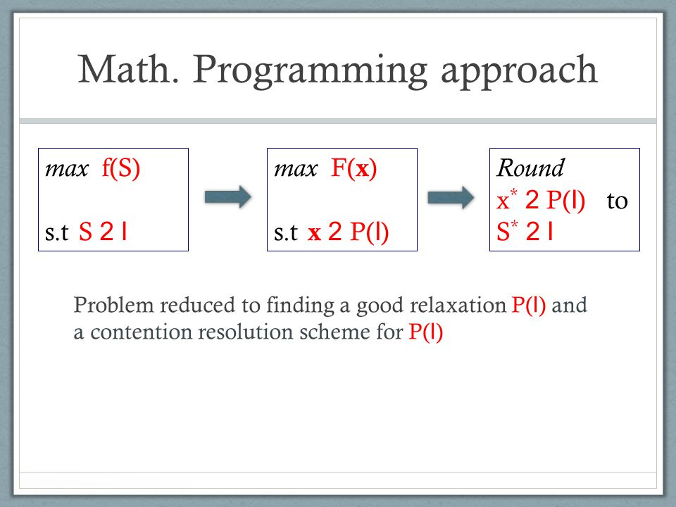 Math. Programming approach Problem reduced to finding a good relaxation P( I ) and a contention resolution scheme for P( I ) max f(S) s.t S 2 I max F(
