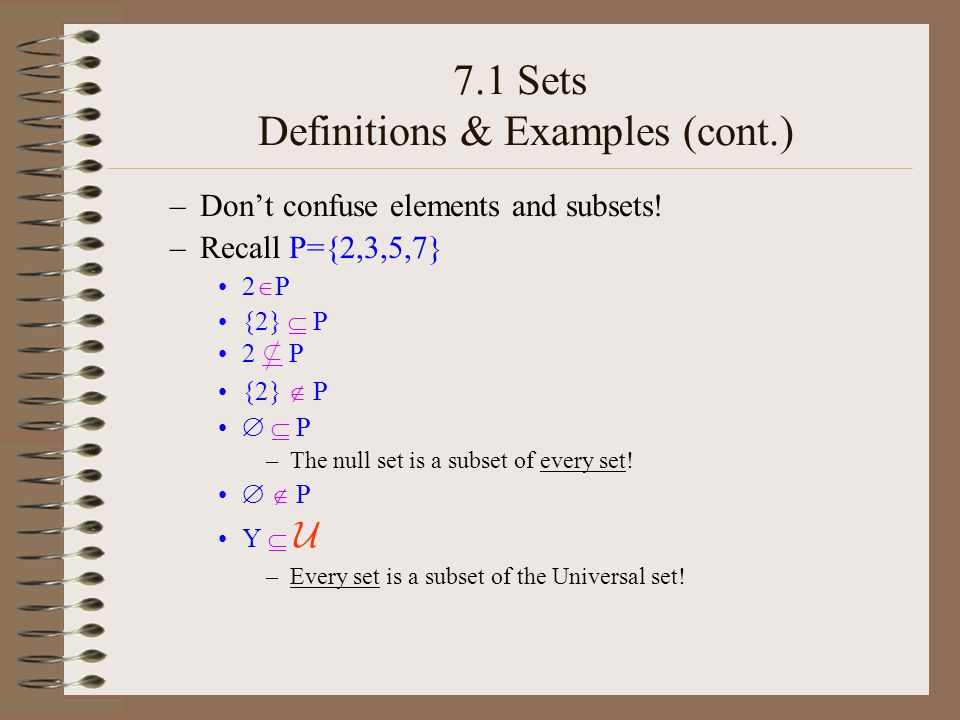 7.1 Sets Definitions & Examples (cont.) 7.1 #54 (p.