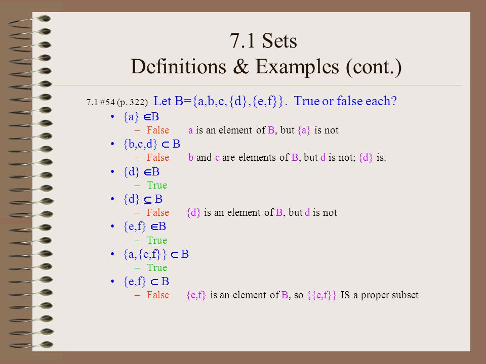 7.1 Sets Definitions & Examples / Power Set How many subsets does the set {a,b,c,d} have.