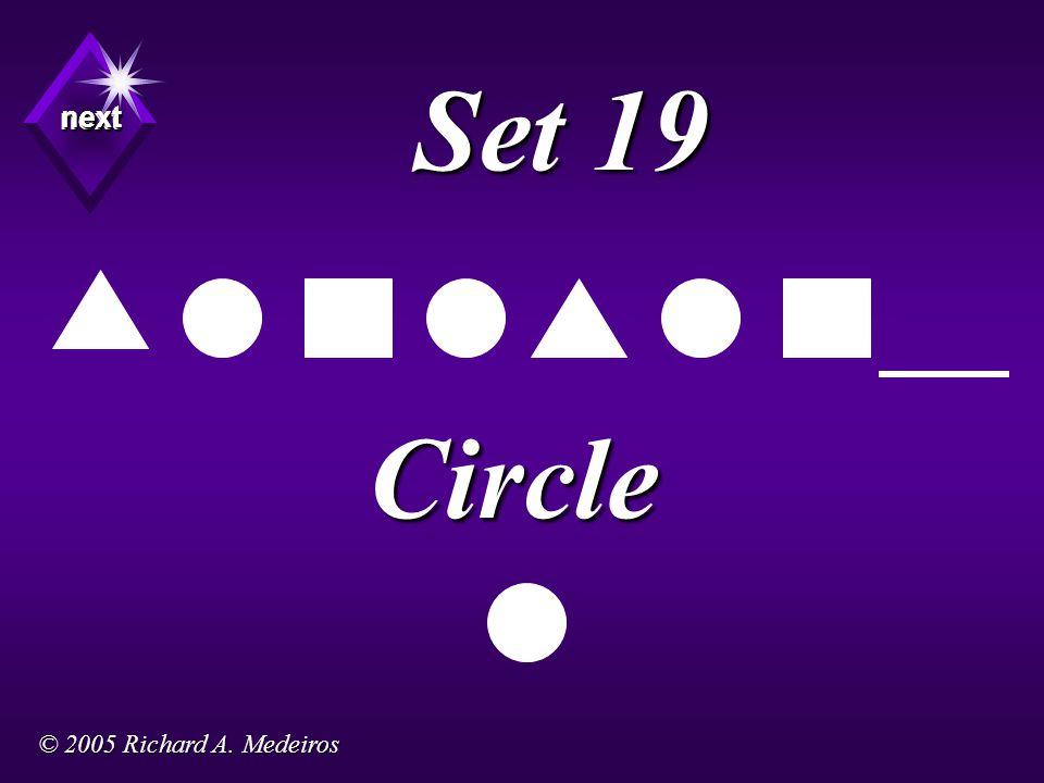 Set 19 Circle next next next © 2005 Richard A. Medeiros